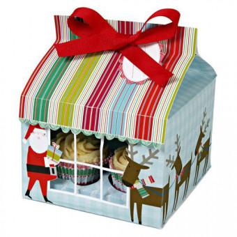 Santa & Reindeer Cupcake Box